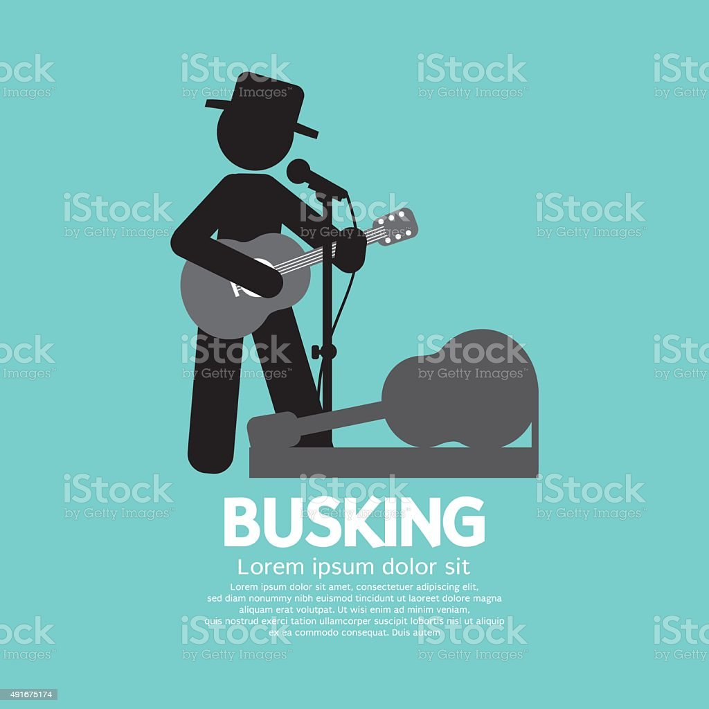 Busking, Street Performance Symbol. vector art illustration