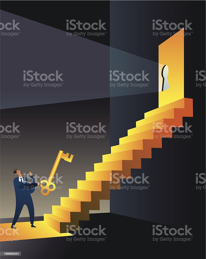 Bussinesman with success key royalty-free stock vector art