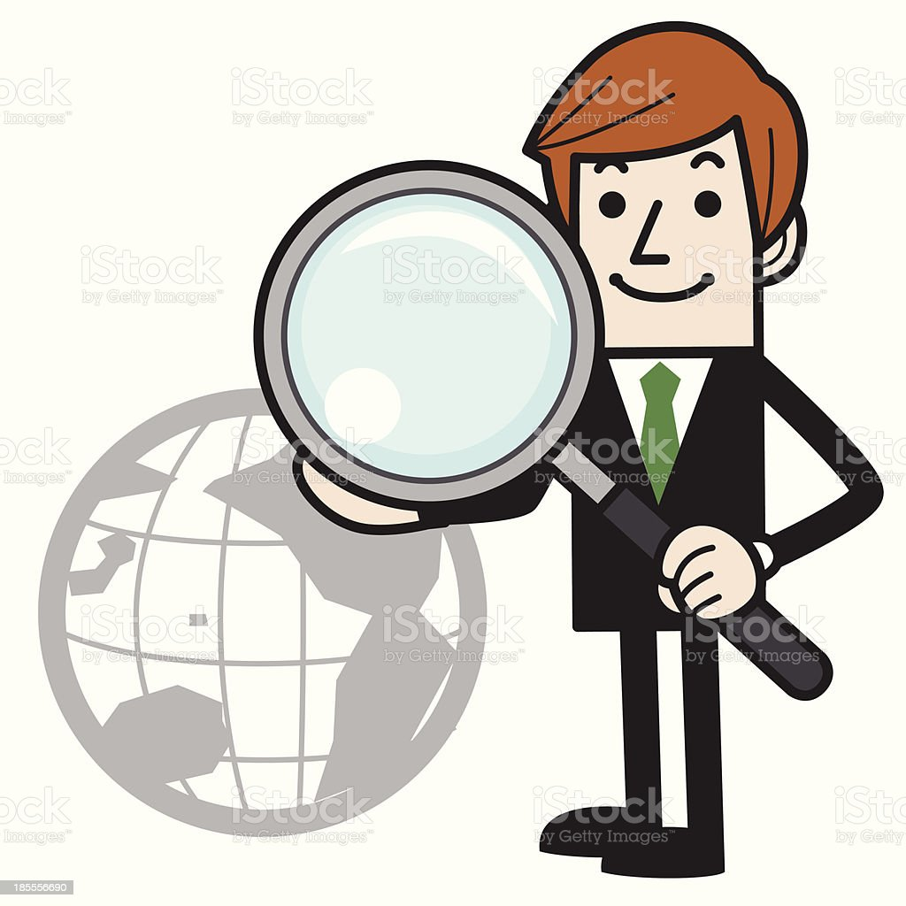 Bussiness man holding a Magnifier royalty-free stock vector art
