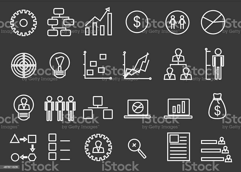 Bussiness Strategy Icon Set vector art illustration