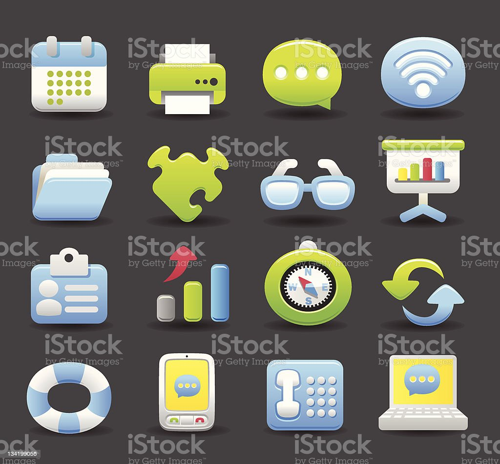 bussiness,office icon set royalty-free stock vector art