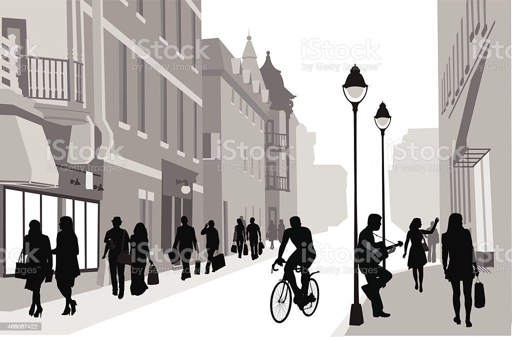 BustlingDowntown vector art illustration