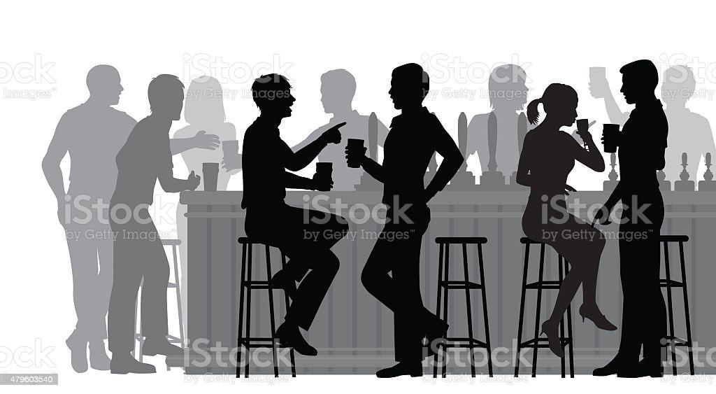 Busy bar vector art illustration