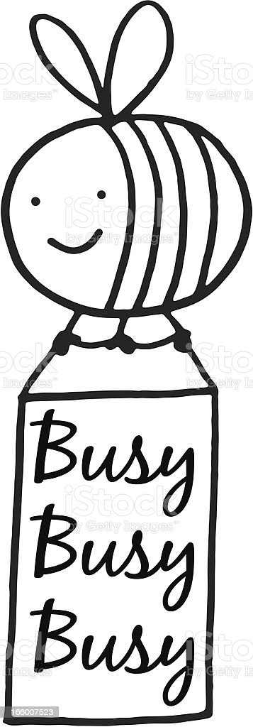 Busy bee holding a sign royalty-free stock vector art
