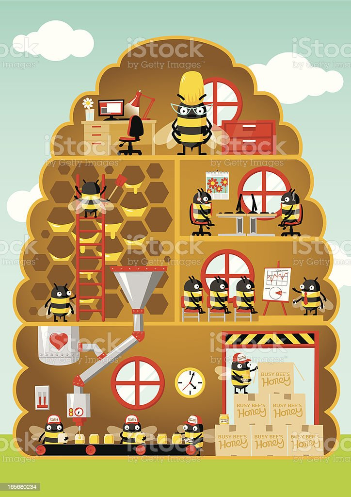 Busy Bee Honey Factory vector art illustration
