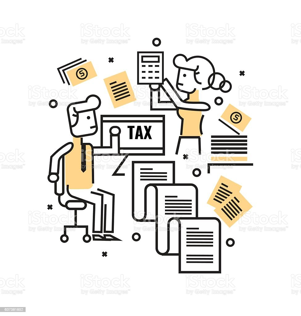 Busy Business people with Tax documents. Tax concept. vector art illustration