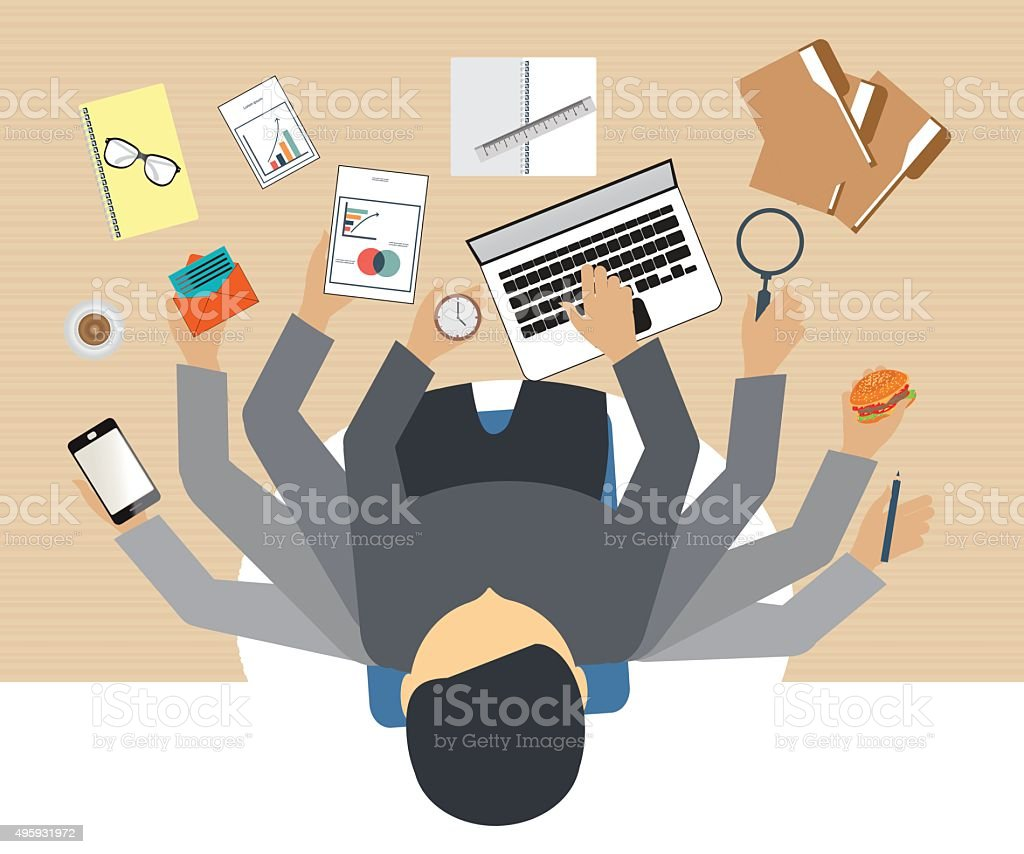 Busy business people working hard . vector art illustration