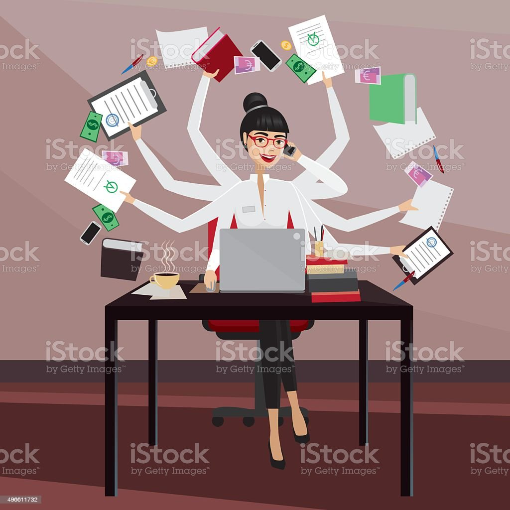 Busy business woman vector art illustration
