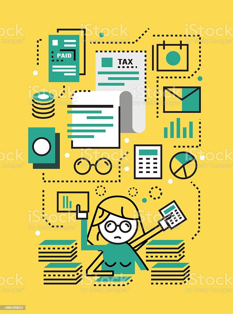 Busy Business woman with Tax documents. vector art illustration