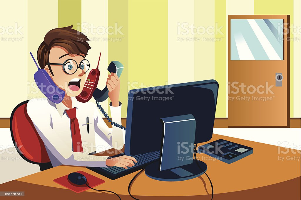 Busy businessman on the phone royalty-free stock vector art