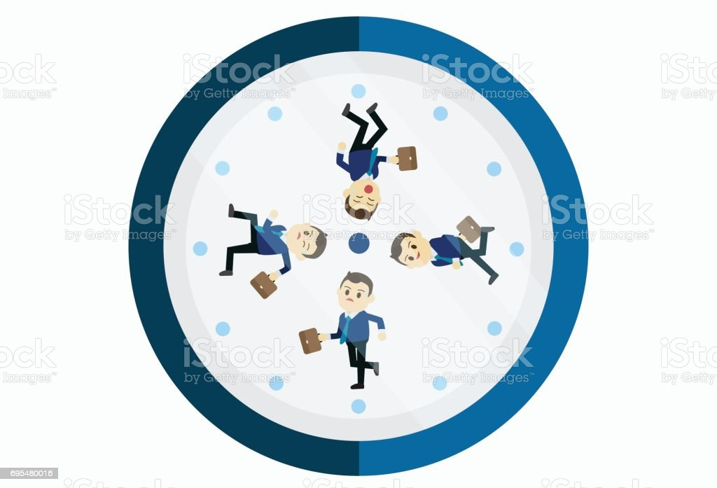 Busy businessman running on the clock.Young businessman running clockwise. Concept of deadline and busy time. Vector flat design illustration. vector art illustration