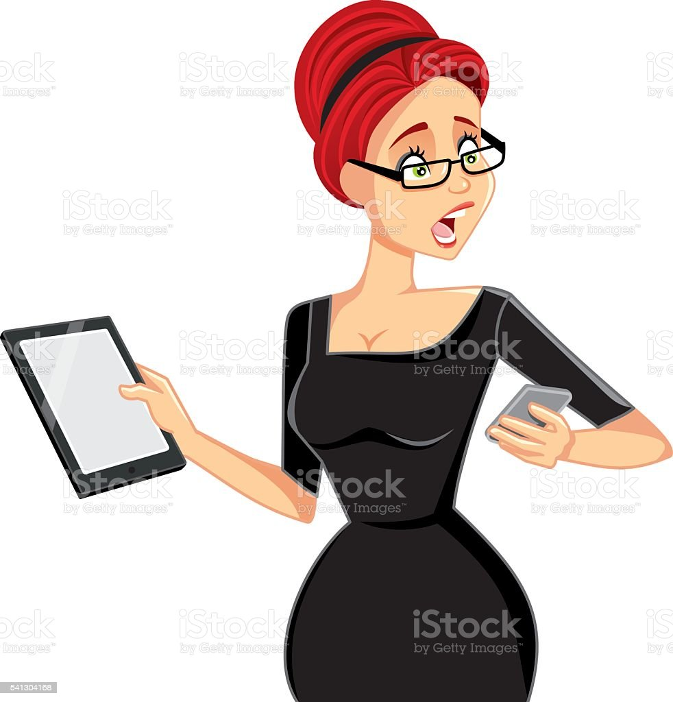 Busy Businesswoman with Smartphone and Tablet Vector Cartoon vector art illustration
