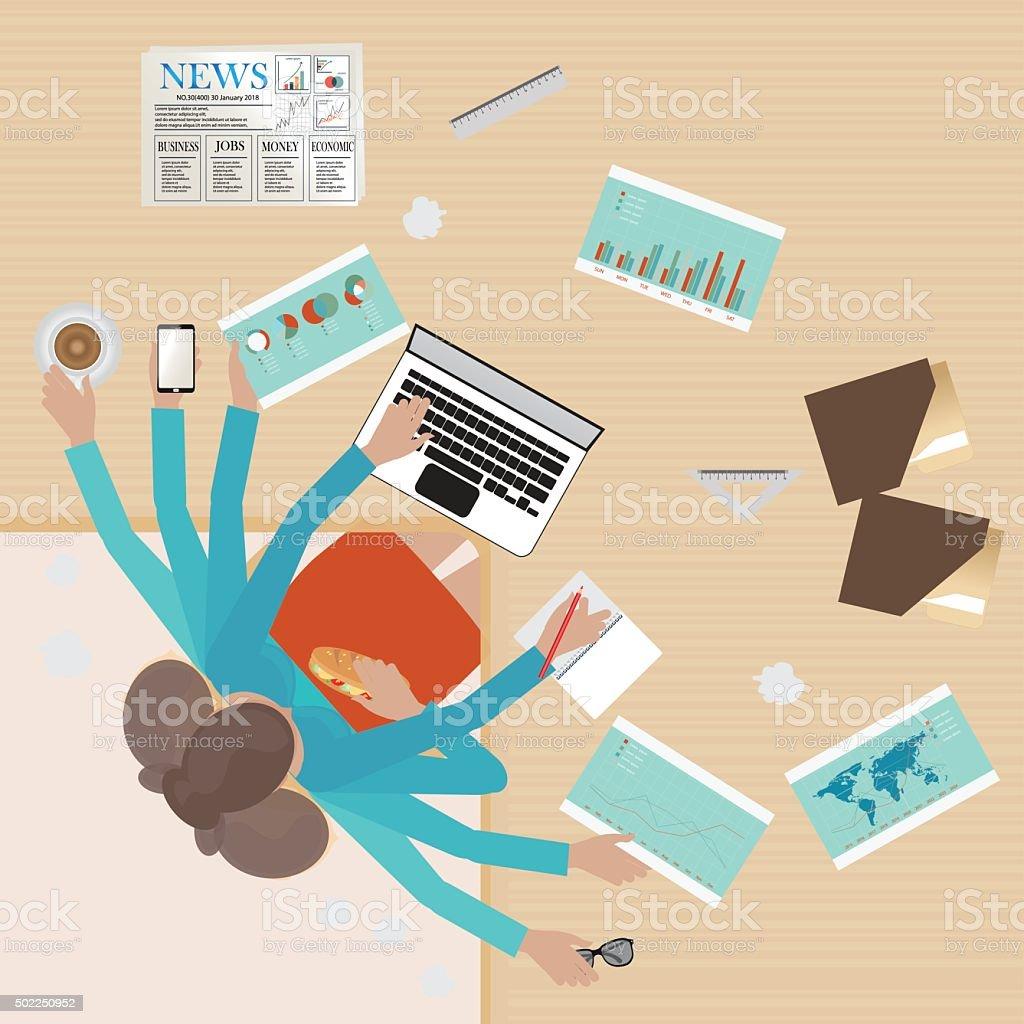 Busy businesswoman working hard on his desk. vector art illustration