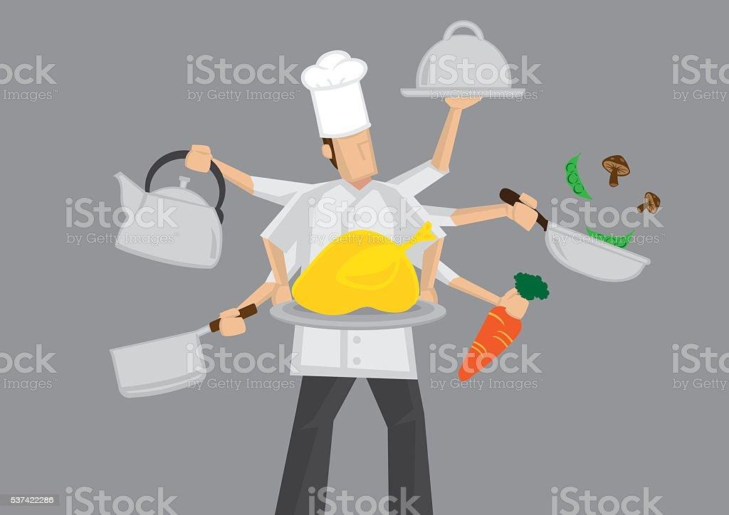Busy Chef Cartoon Vector Illustration vector art illustration