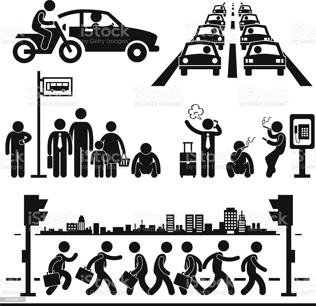 Busy City Life Pictogram vector art illustration