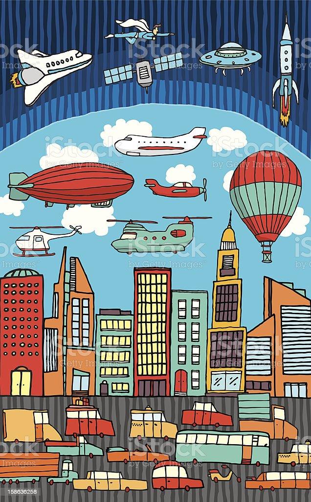 Busy city / Metropolis royalty-free stock vector art