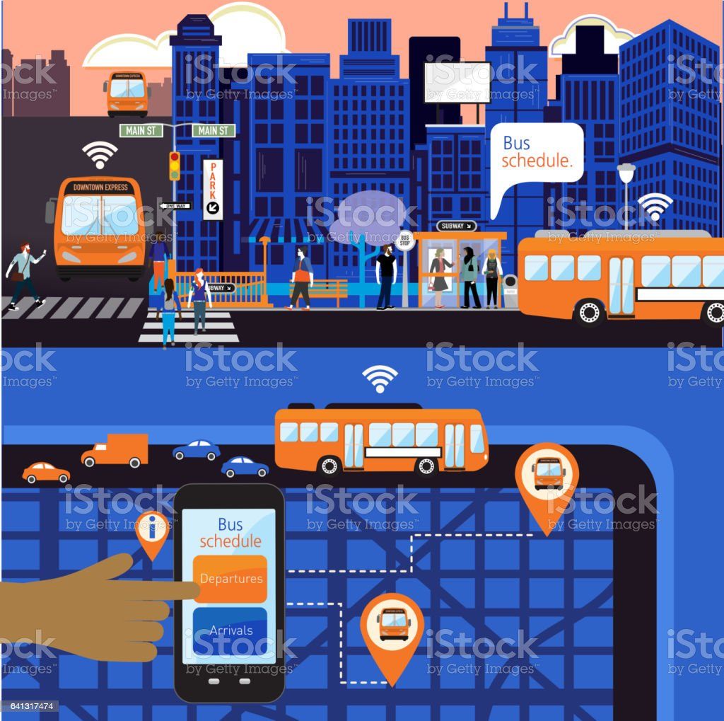 Busy Cityscape with Bus schedule concept vector art illustration