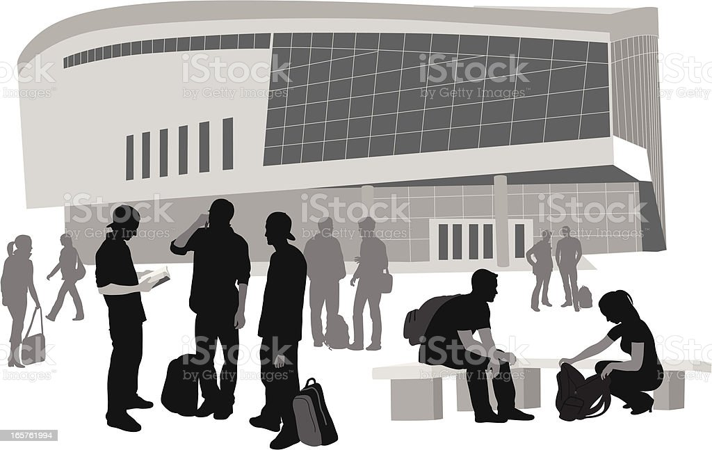 Busy College Vector Silhouette royalty-free stock vector art