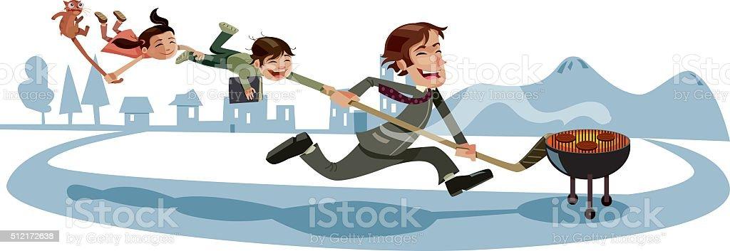 Busy Dad Running Around vector art illustration