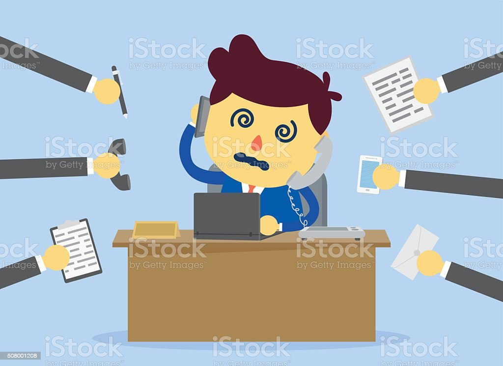 Busy day of worker vector art illustration