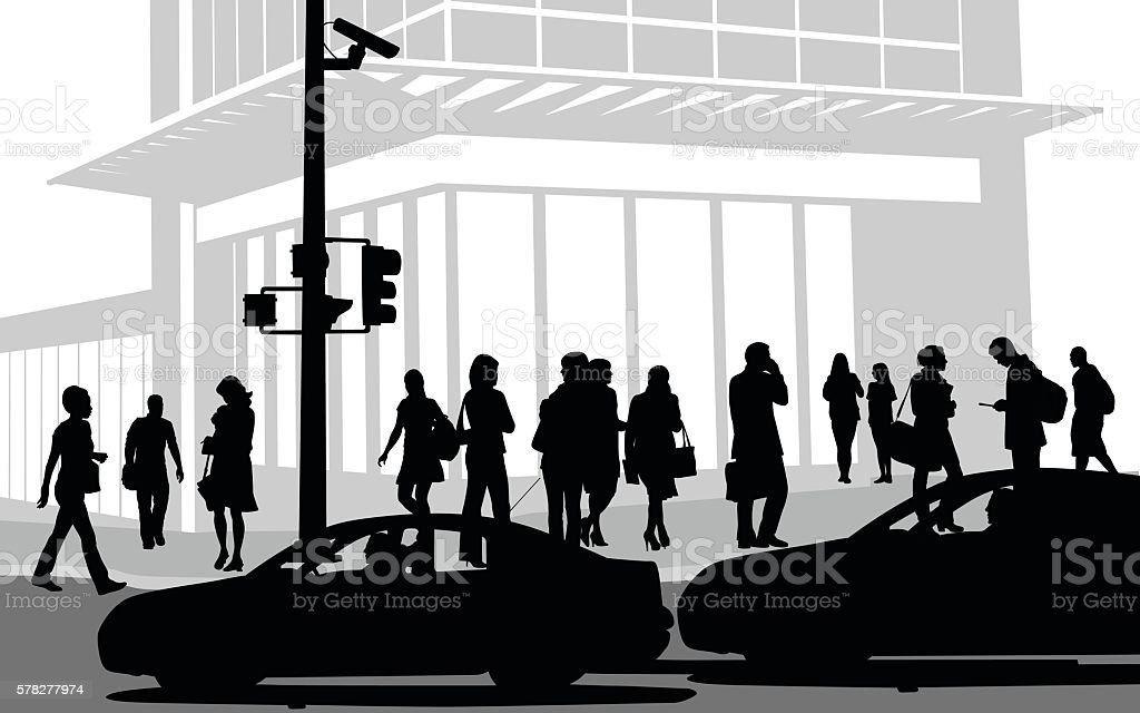 Busy Downtown Street vector art illustration