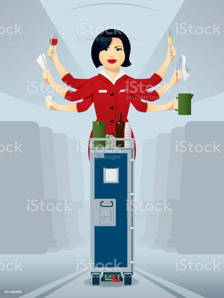 Busy flight attendant, serving drinks of the trolley vector art illustration