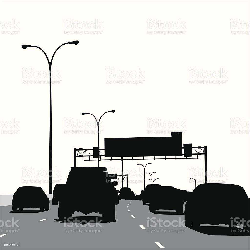 Busy Highway Vector Silhouette royalty-free stock vector art