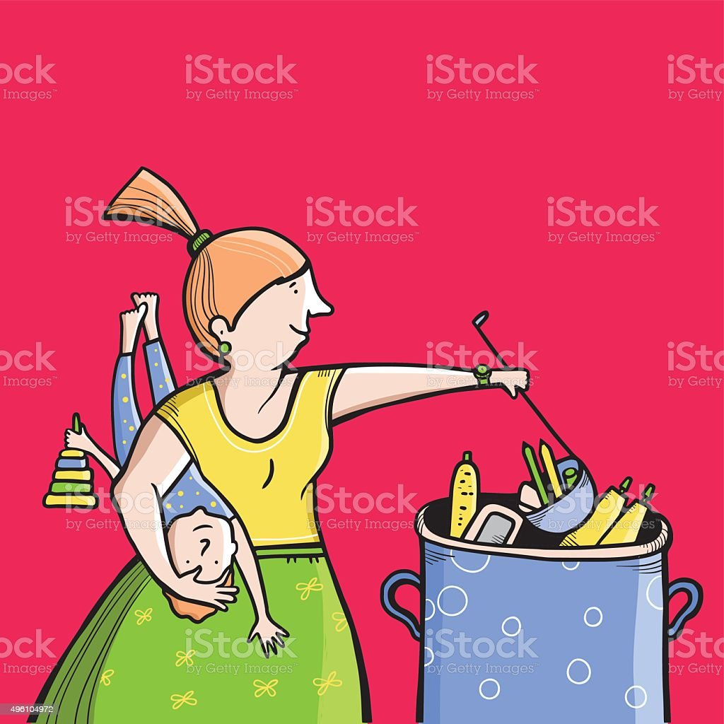 Busy housewife preparing meals and holding child. Vector illustration. vector art illustration