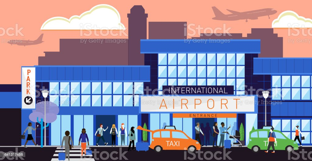 Busy International Airport scene with diverse people vector art illustration