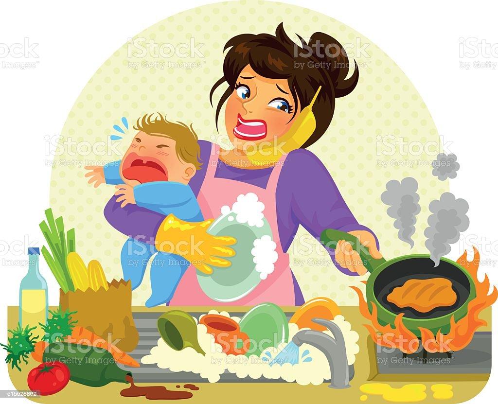 busy mom vector art illustration