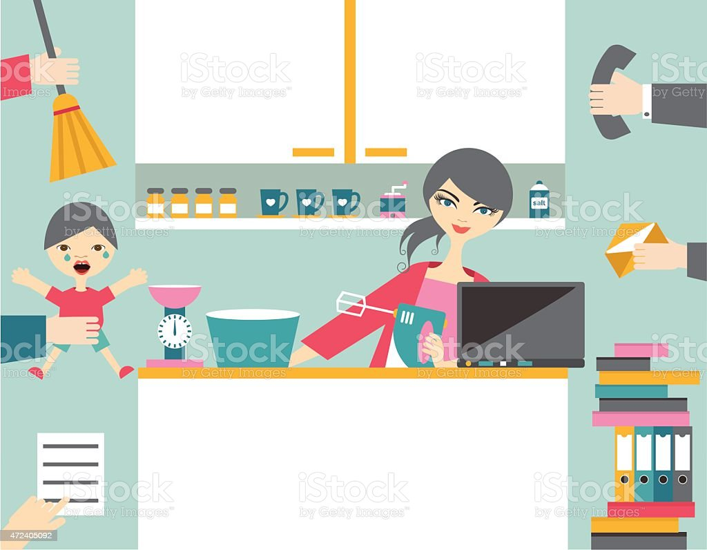 Busy multitask woman, mother managing her work with smile. vector art illustration
