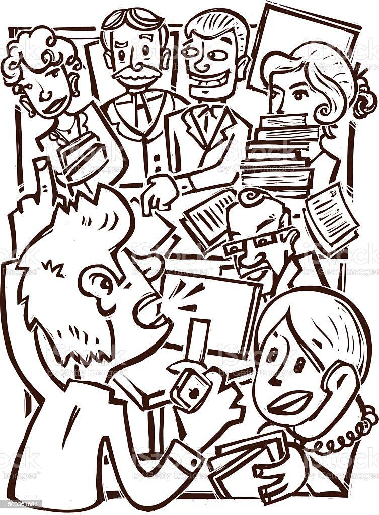 Busy Office vector art illustration