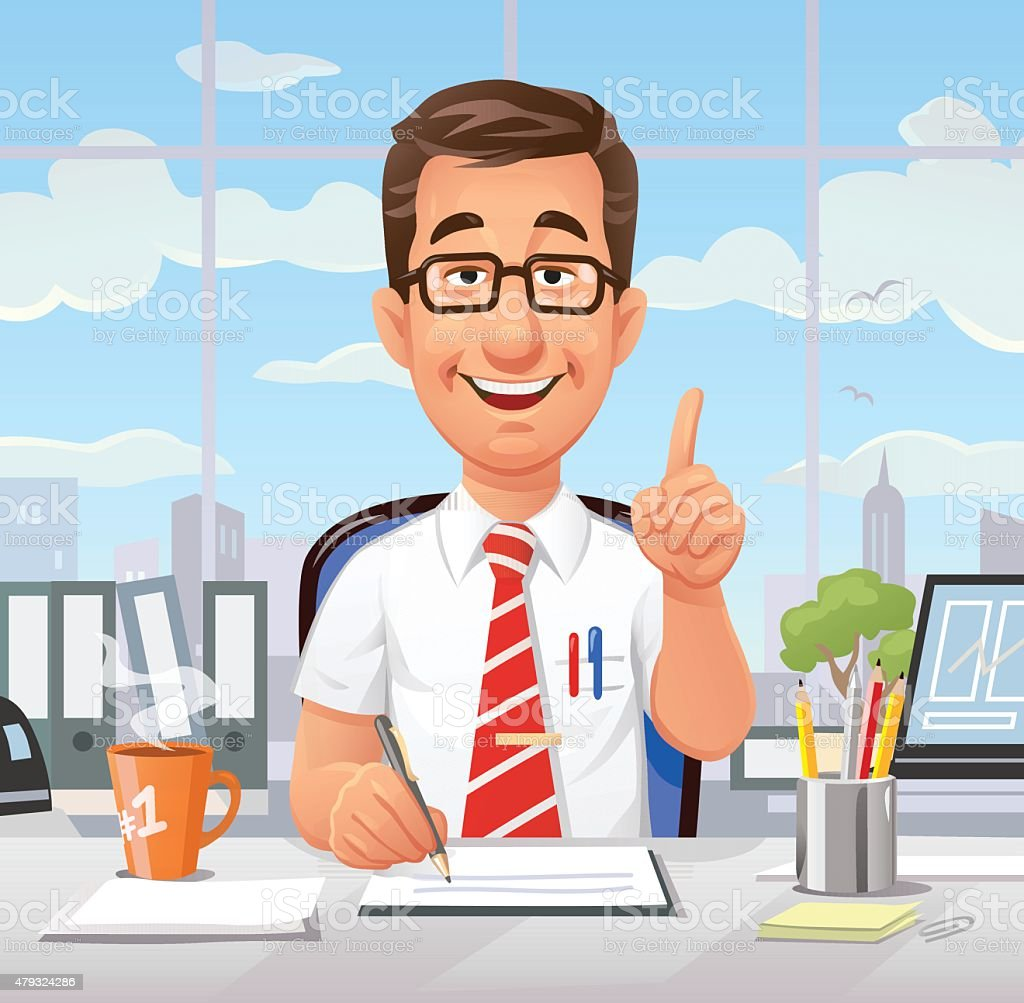 Busy Office Worker Giving Advice vector art illustration