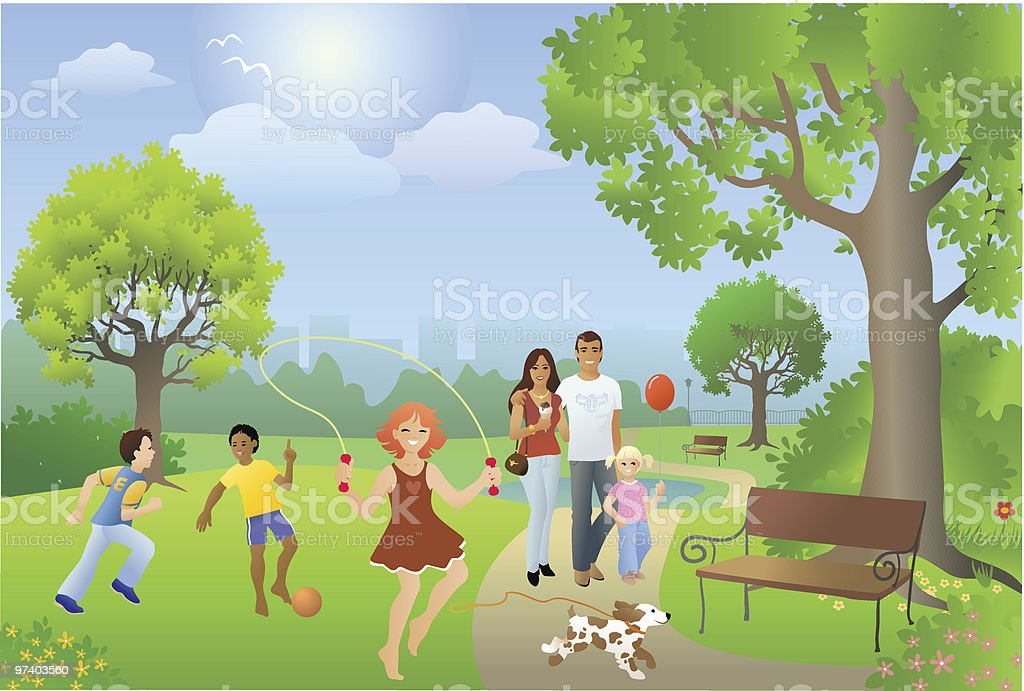 Busy Park Setting with People Playing on Sunny Day royalty-free stock vector art