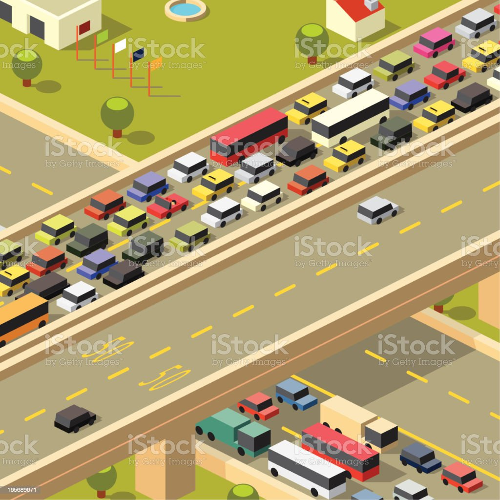 Busy road to work and free road home vector art illustration
