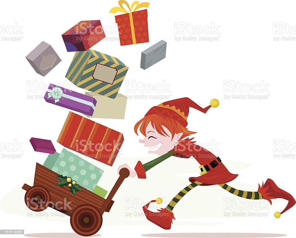 Busy Santa's Helper Elf royalty-free stock vector art