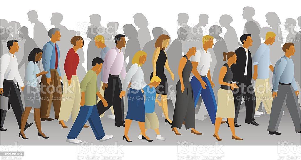 busy sidewalk vector art illustration