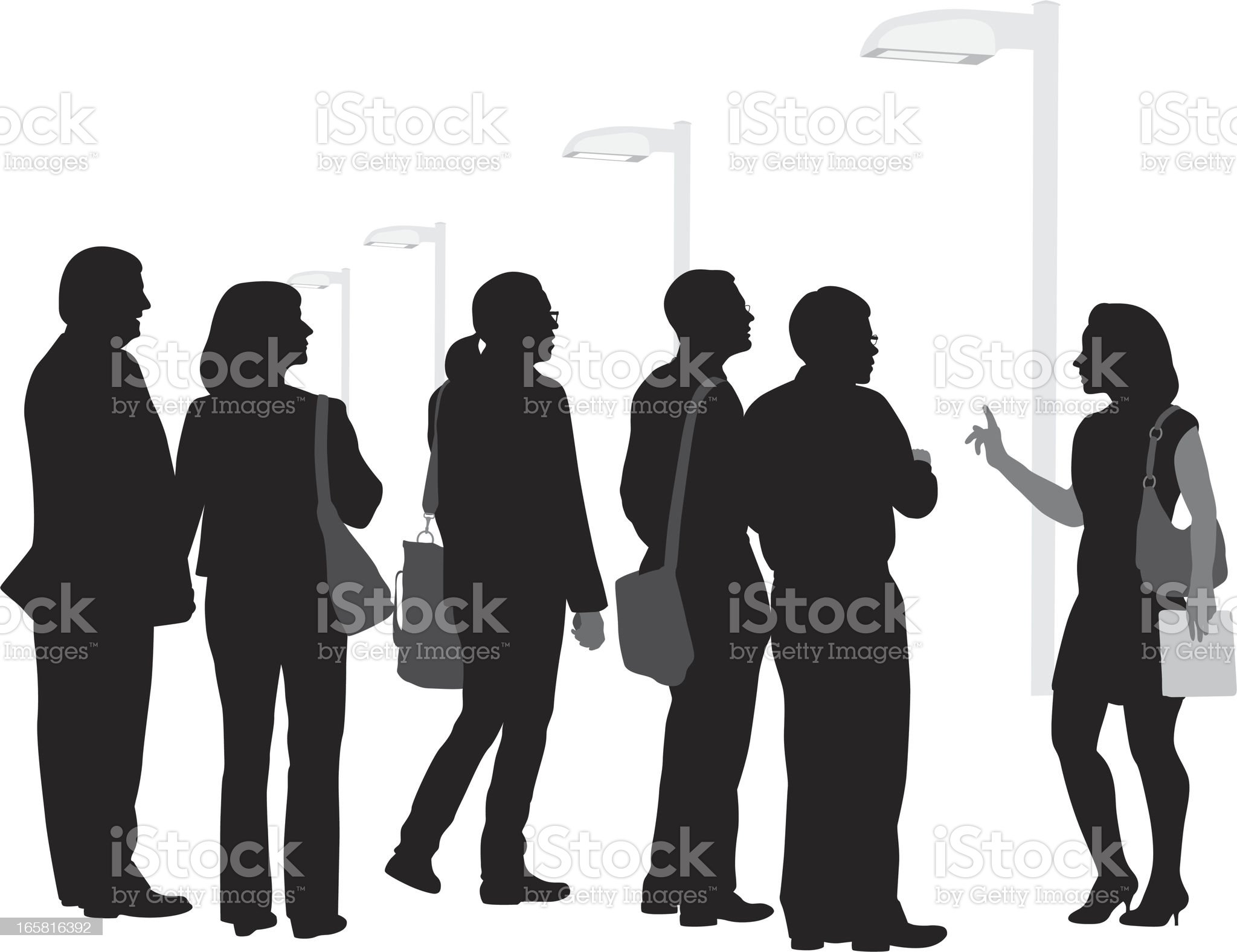 Busy Tour Vector Silhouette royalty-free stock vector art