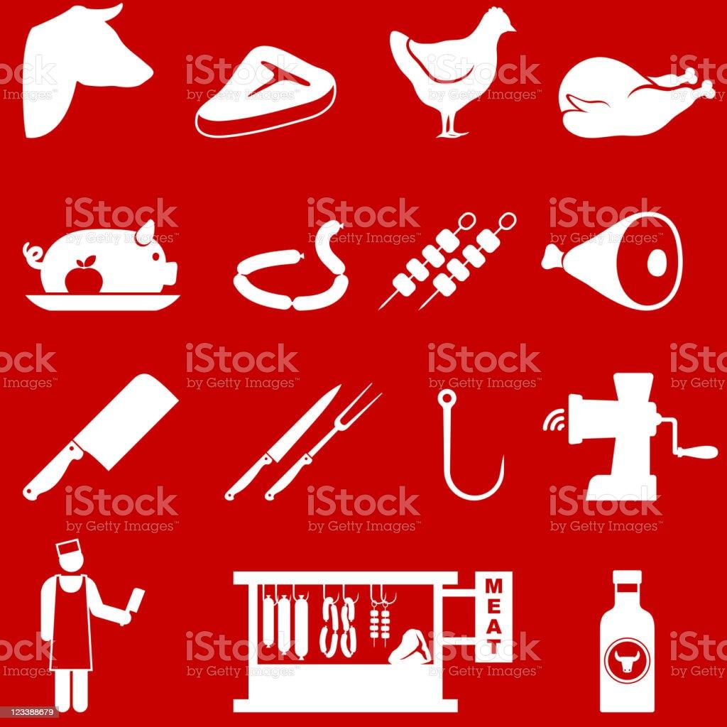 butcher and meat shop vector art illustration
