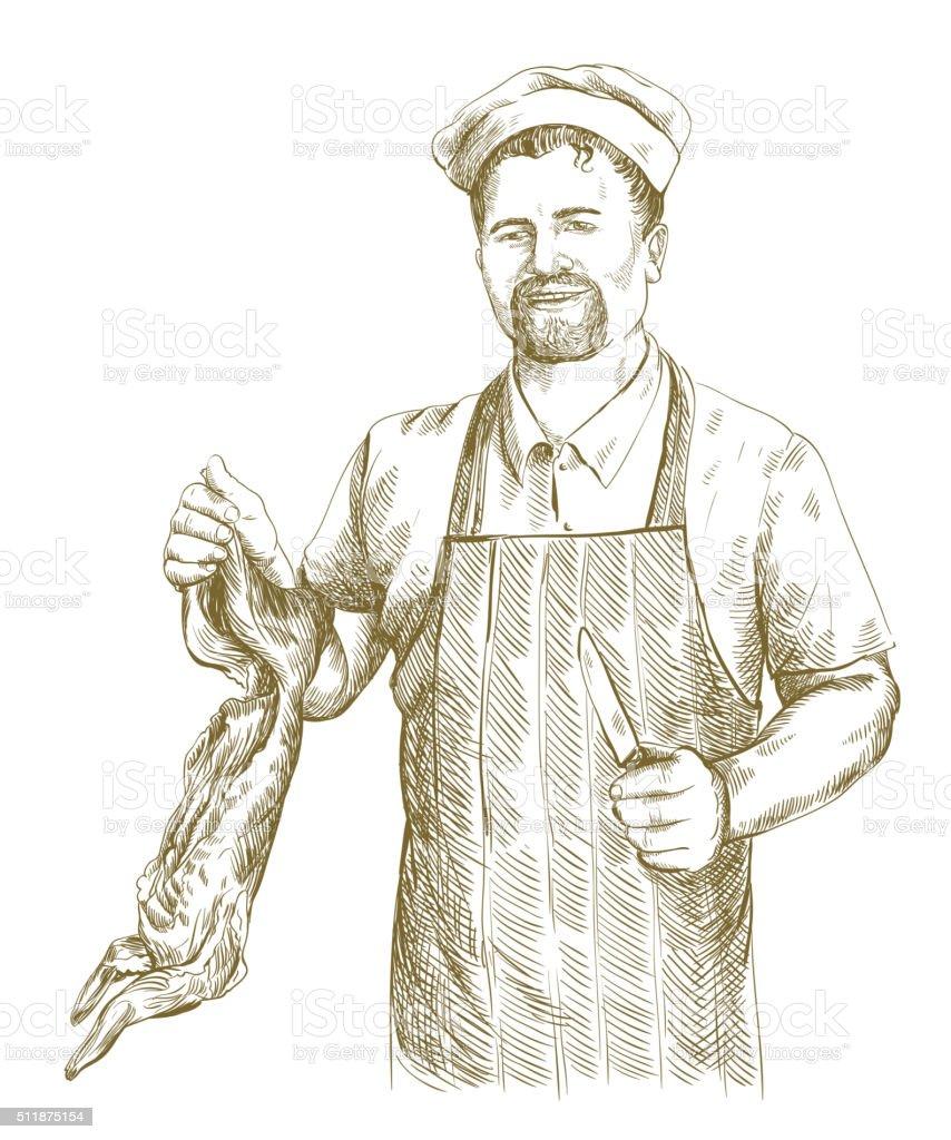 butcher cut up carcass of the rabbit vector art illustration