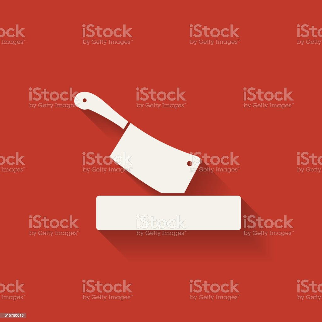 butcher knife in chopping board vector art illustration