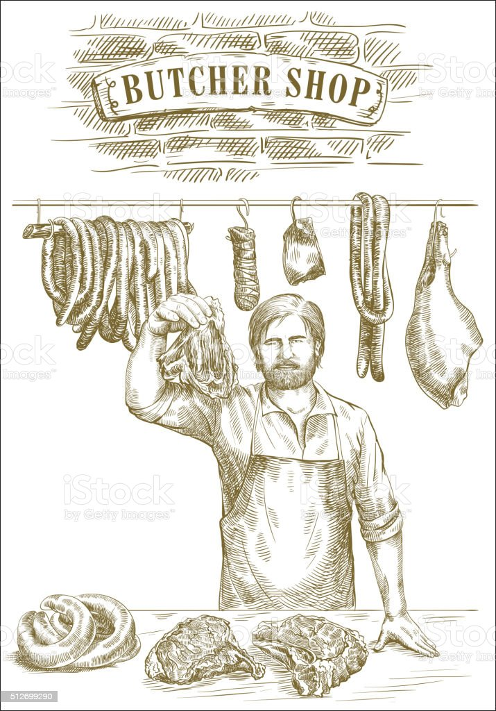 Butcher offers fresh meat vector art illustration
