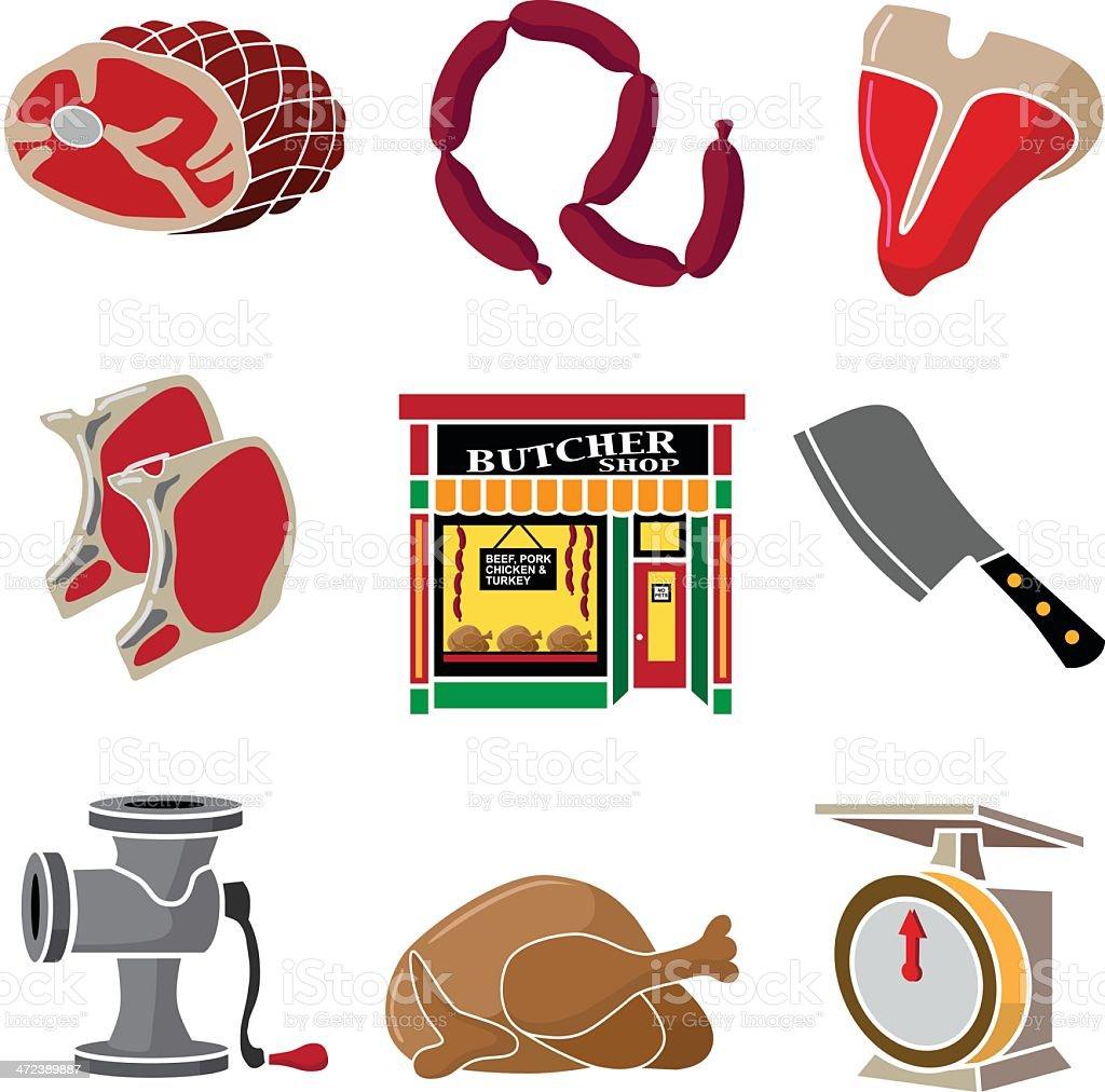 butcher shop design elements royalty-free stock vector art
