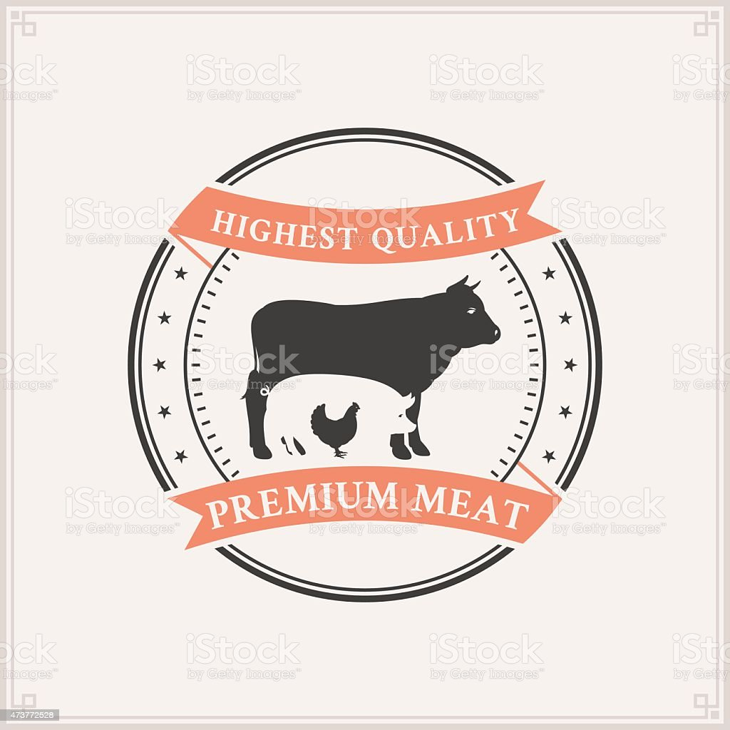 Butcher Shop Label Template with Farm Animals Silhouettes vector art illustration