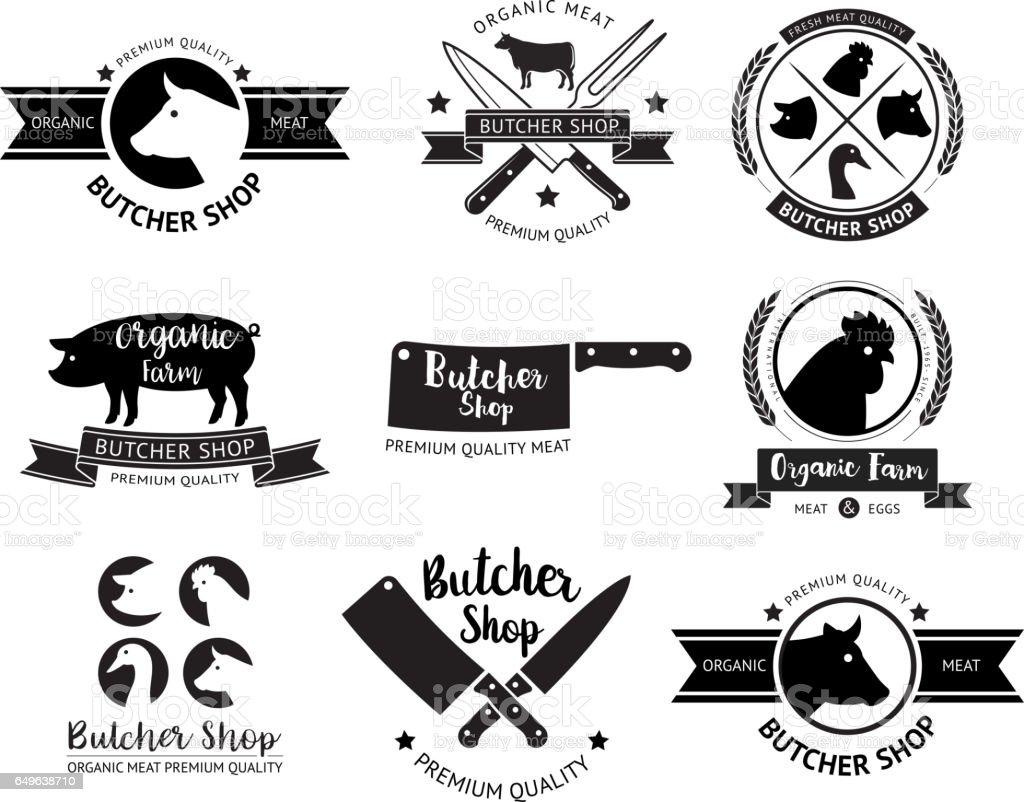 Butcher shop logo and label. vector art illustration