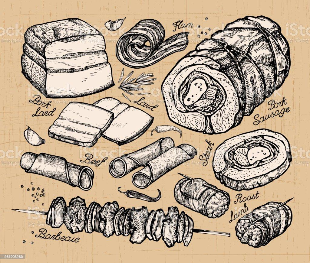 butcher shop, meat. hand-drawn sketches of food. vector illustration vector art illustration