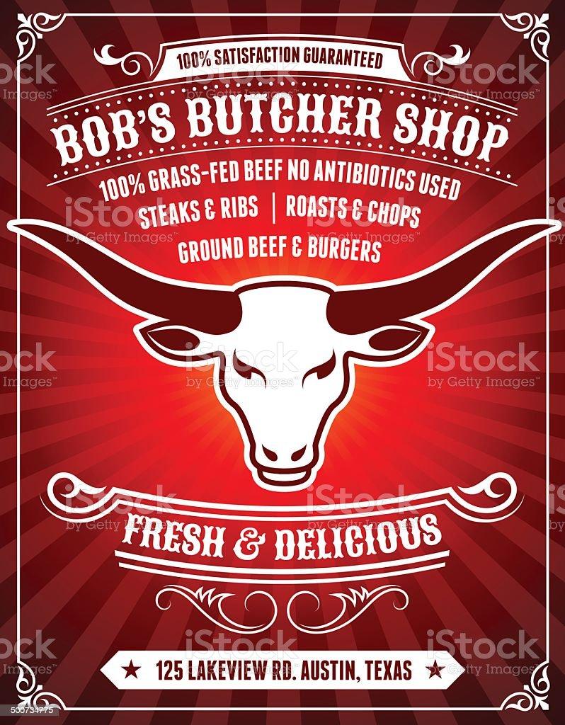 Butcher Shop Poster on Red Background vector art illustration