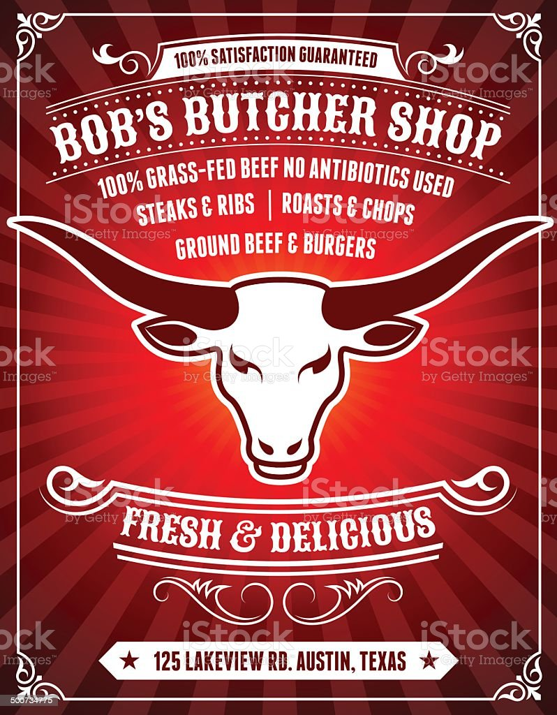 Butcher Shop Poster on Red Background vector art illustration