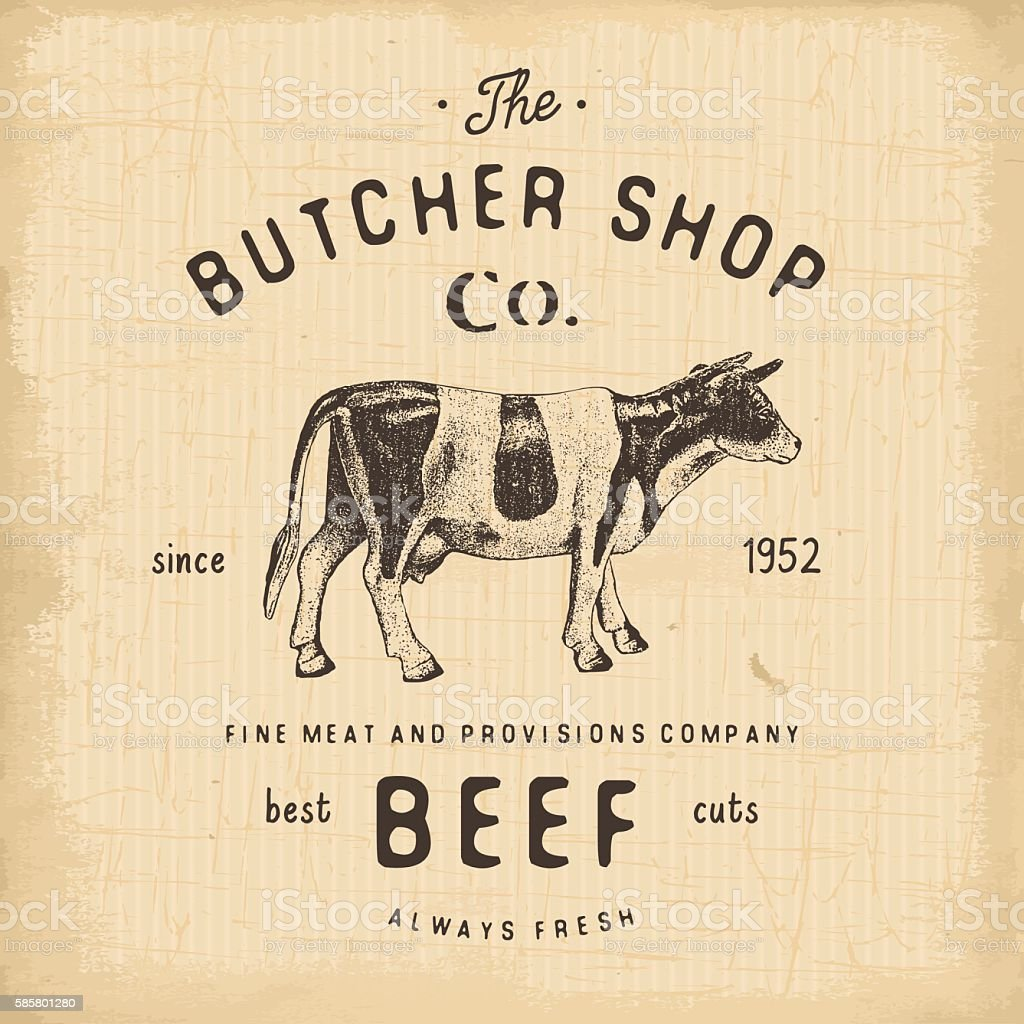 Butcher Shop vintage emblem beef meat products, butchery Label. vector vector art illustration