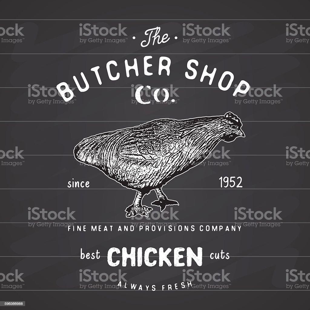 Butcher Shop vintage emblem, chiken meat products label. vector illustration vector art illustration